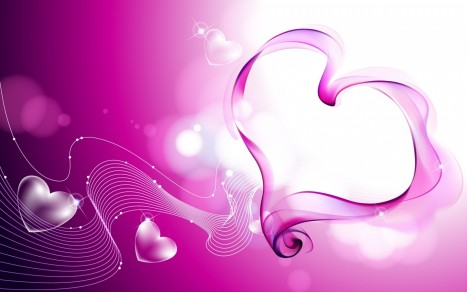 Valentines Day Beautiful Pink Hearts Wide Pink