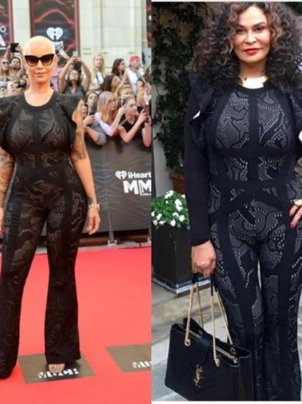 Who Wore It Better Amber Rose Vs Tina Lawson In Herve Leger Black Jacquard Jumpsuit Amber Rose