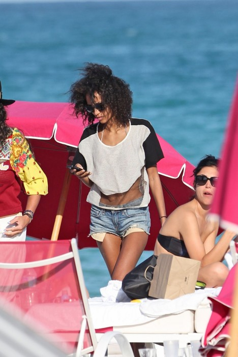 Anais Mali On The Beach With Few Friends In Miami March Anais Mali