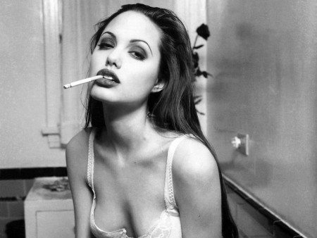 Angelina Jolie Hot Black White Wide Hot