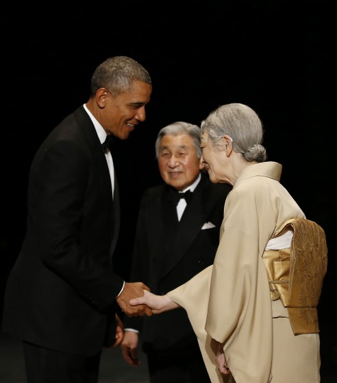 President Barack Obama Is Welcomed By Japans Emperor Akihito And Empress Michiko Upon His Arrival At The Imperial Palace For Banquet In Tokyo April Selfie