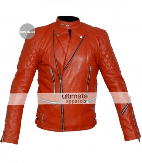 Brando Red Quilted Motorcycle Jacket Brando