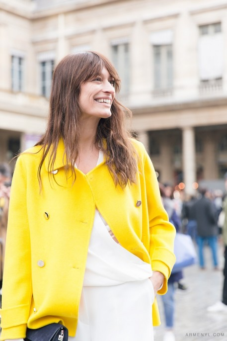 Caroline De Maigret In Yellow Outside Isabel Marant Fw Show In Paris On March Photographed By Armenylcom Caroline De Maigret