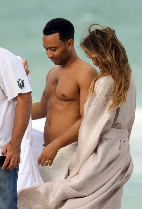 Chrissy Teigen Photoshoot At Miami Beach Beach