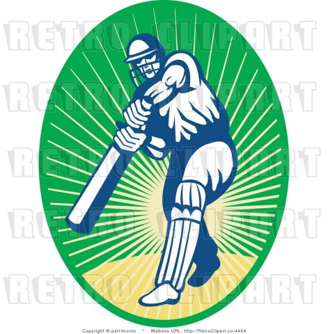 Royalty Free Retro Cricket Batsman Over Green And Yellow Background By Patrimonio Clipart