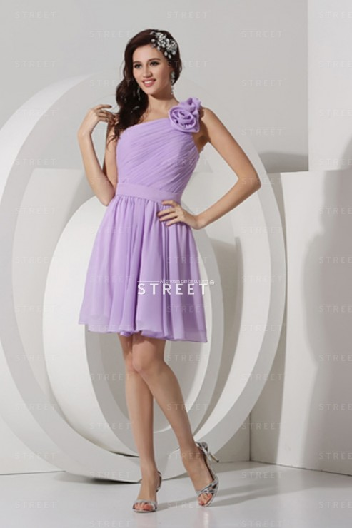 One Shoulder Chiffon Lilac Floral Teenage Girls Party Dress Dstrt For Teenagers