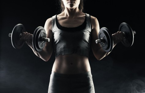 Girls Sports Girl With Dumbbells In The Hands Of Dumbbells