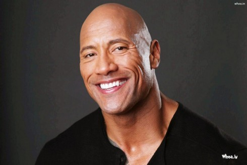 Dwayne Johnson The Rock Dark Background With Smiley Face Closeup Wallpaper