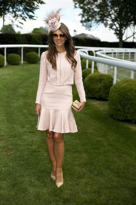 Elizabeth Hurley Attends The Investec Derby Festival At Epsom Racecourse