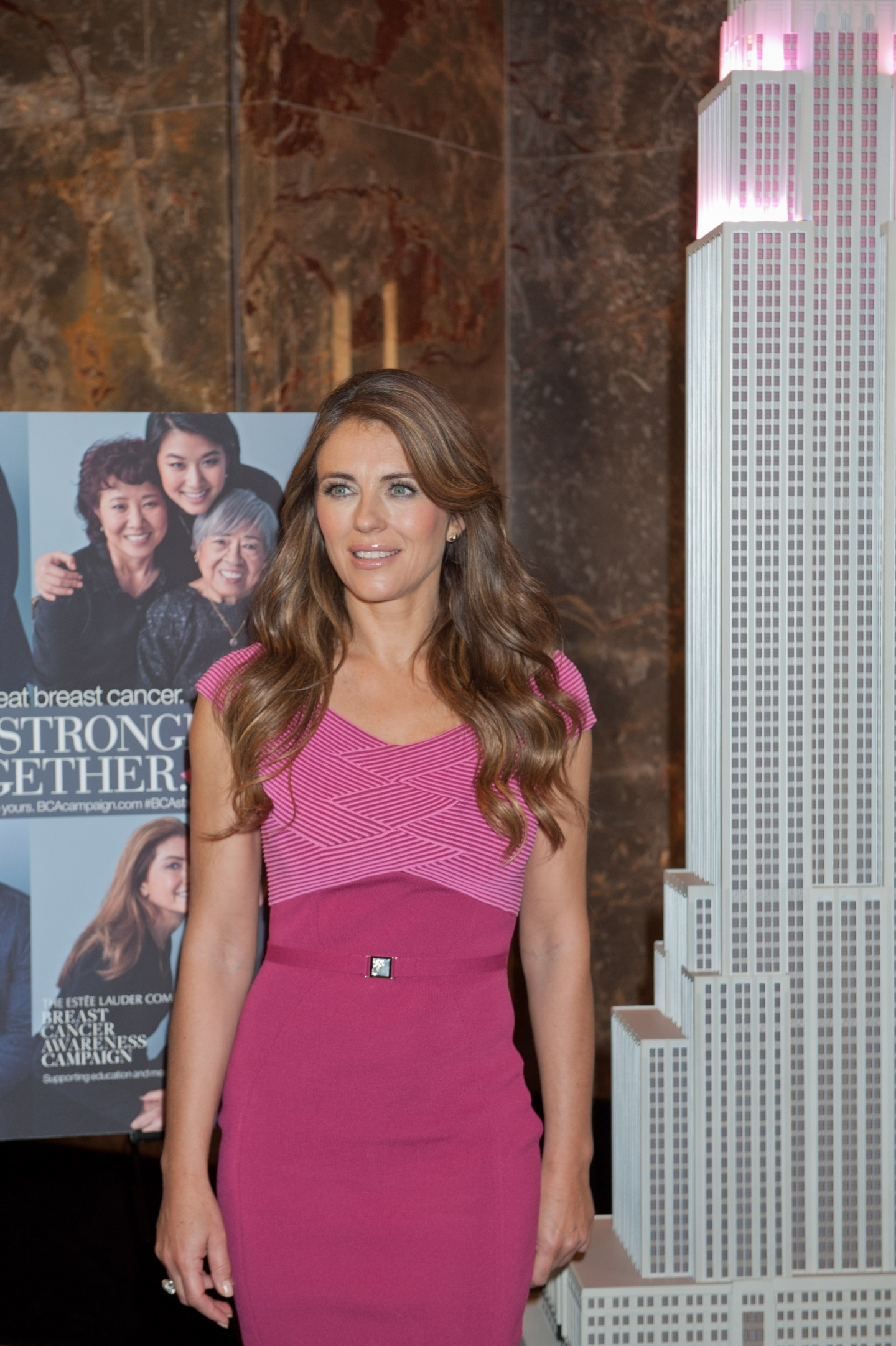 Elizabeth Hurley Breast Cancer Awareness Month Event At Empire State Building In Nyc