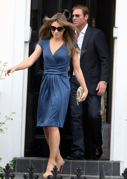 Elizabeth Hurley In Blue Dress In London June Elizabeth Hurley