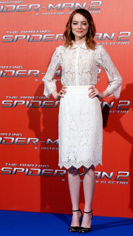 Emma Stone Dolce And Gabbana White Lace Top Skirt Main