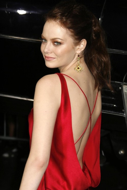 Emma Stone Red Hair Up Red Satin Dress Deep Back Hair