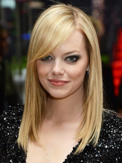 Hairstyles With Bangs Emma Stone Long Side Swept Bangs Hair