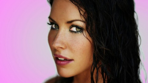 Evangeline Lilly Actress With Pink Bckground