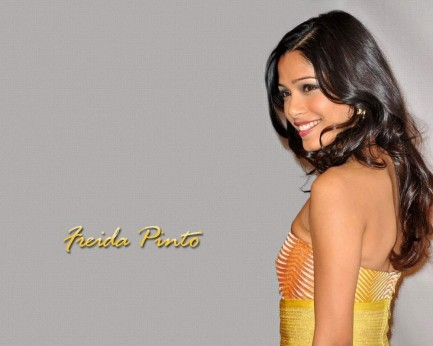 Golden Hot Side Pose Freida Pinto Movies