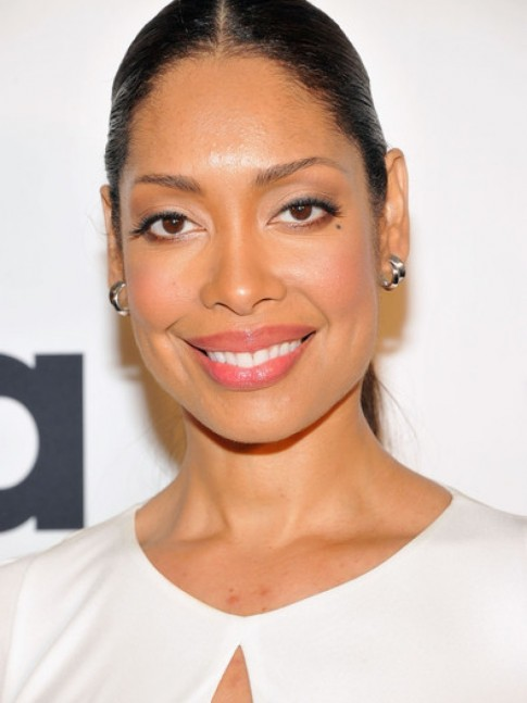 Gina Torres Suits Story Event New York City Roberto Cavalli Slit Neck Gown Gina Torres
