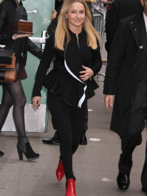 Hayden Panettiere Good Morning America Givenchy Cascade Peplum Jacket Mugler Pants Saint Laurent Red Leather Ankle Boots Hayden Panettiere