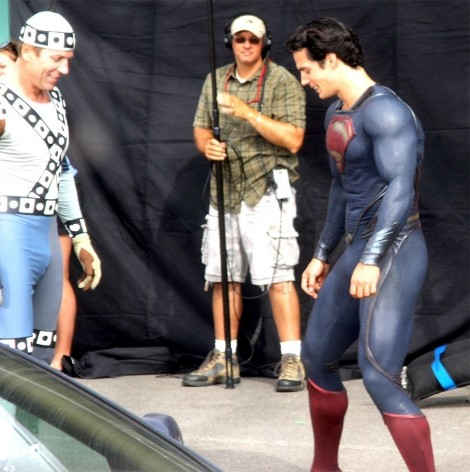 Henry Cavill Man Of Steel Set Superman Suit Films Dad Fce Image Films