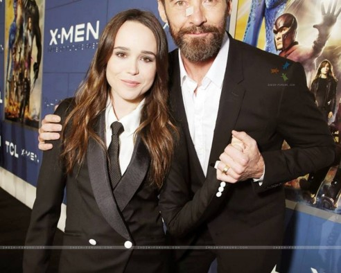 Hugh Jackman And Ellen Page At The Premiere Wallpaper