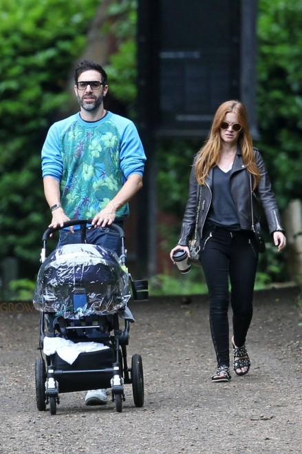Isla Fisher And Sacha Baron Cohen Take Their Month Old Baby Montgomery Moses Brian For Stroll