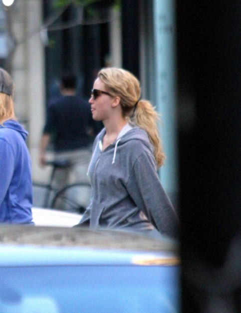 Jennifer Lawrence Spotted While She Walking Her Dog In Montreal