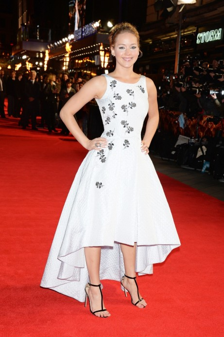Jennifer Lawrences Mockingjay Part Premiere Christian Dior Spring Embellished Dress Jennifer Lawrence