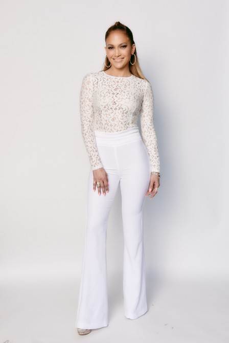 Jennifer Lopezs American Idol White Lace Mischa Collection Top And Rachel Zoe Wide Legged Pants