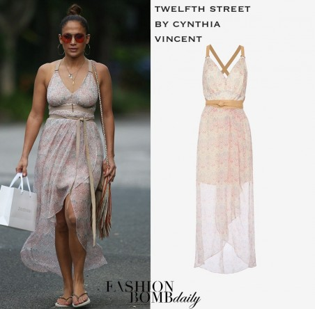 Jennifer Lopezs Hamptons Twelfth Street By Cynthia Vincent Leather Detail Printed Maxi Dress And Barbara Bonner Fringe Handbag