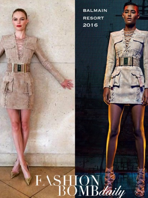 Kate Bosworths Instagram Balmain Resort Suede Lace Up Dress