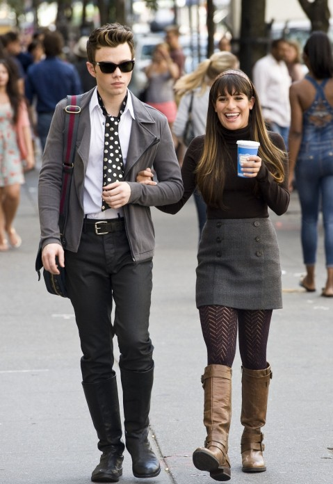Lea Michele Chris Colfer On Set In New York Lea Michele And Cory Monteith