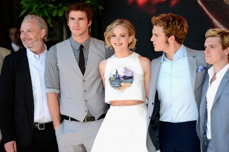 Josh Hutcherson Francis Lawrence Jennifer Lawrence Liam Hemsworth And Sam Claflin At Event Of The Hunger Games Mockingjay Part Hunger Games
