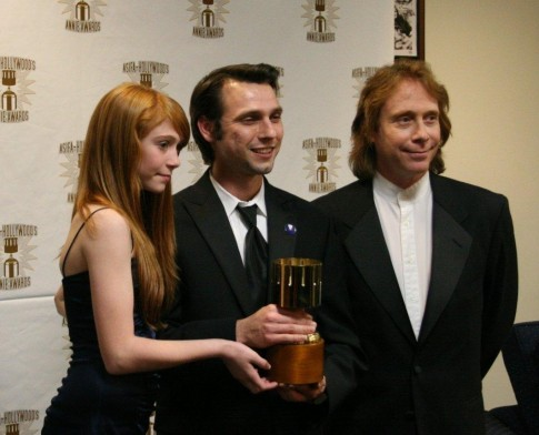 Presenters Liliana Mumy And Bill Mumy With Michal Makarewicz Winner For Feature Character Animation Liliana Mumy