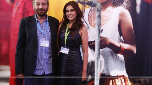 Shekhar Kapoor And Lisa Ray Pose For The Media At Creator Space Water