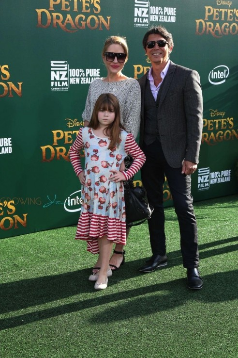 Lou Diamond Phillips With His Family At Petes Dragon Premiere In Hollywood Lou Diamond Phillips