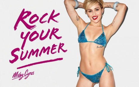 Miley Cyrus Poses For Golden Lady Rockyoursummer Bikini Shooting