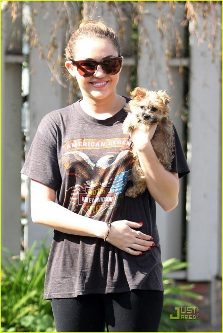Miley With Her New Puppy Miley Cyrus