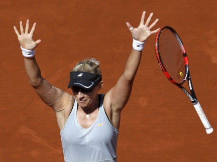 Mirjana Lucic Baroni Of Croatia Celebrates After Beating Simona Halep Of Romania During Their Womens Singles Match At The French Open Tennis Tournament At The Roland Garros Stadium In Paris France May