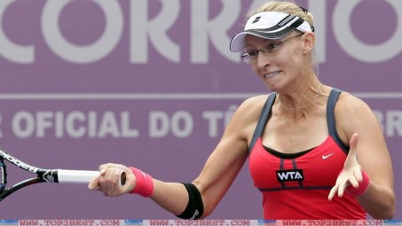Mirjana Lucic Baroni With Galsses In Tennis Court