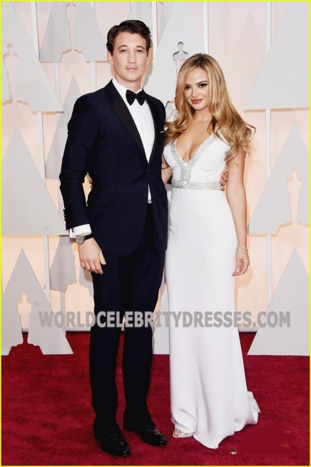 Keleigh Sperry White Low Cut Celebrity Prom Dresses On Sale At Oscar Awards Celebrities