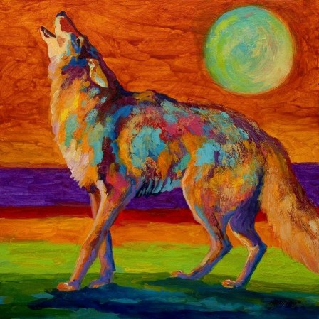 Hand Painted Animals Talk With Moon Office Corridor Modernism Oil Painting Lp