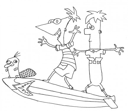 Phineas And Ferb Characters Coloring Pages Phineas And Ferb