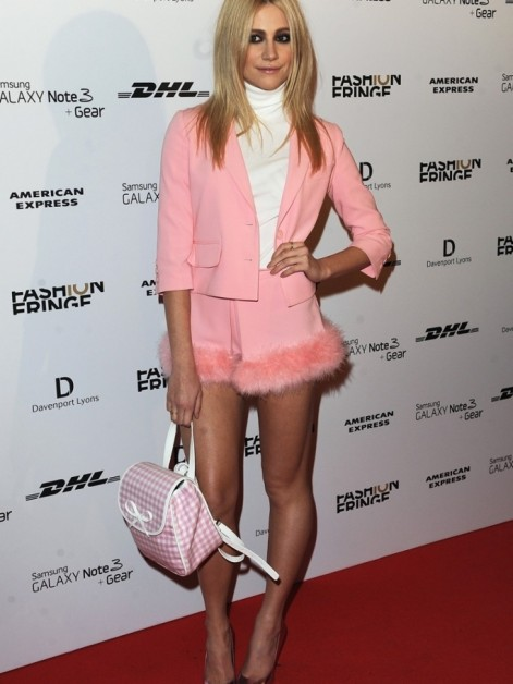 Pixie Lott Fashion Fringe Th Anniversary Party London Moschino Cheap And Chic Spring Pink Fur Trimmed Short Suit Oe Sevigny For Opening Ceremony Gingham Backpack Pixie Lott