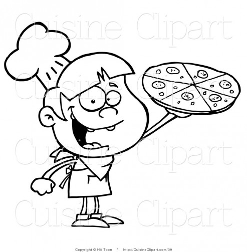 Cuisine Clipart Of An Outlined Pizza Boy Holding Up Pizza Pie By Hit Toon Pizza