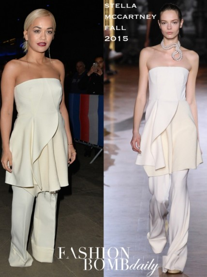 Rita Oras The One Show Stella Mccartney Fall Strapless Cream Top And Matching Pants One Show