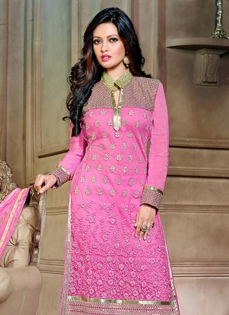 Pink Net Riya Sen Straight Suit Sldaest Sem Body