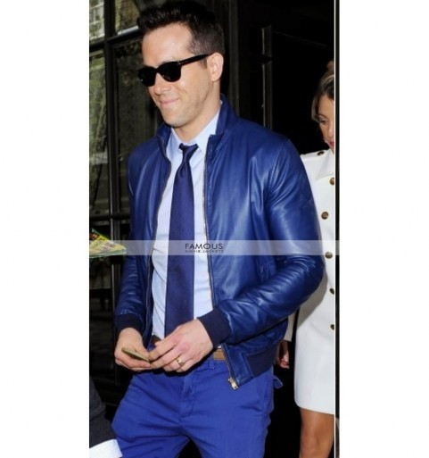 Ryan Reynolds Blue Bomber Jacket Blade