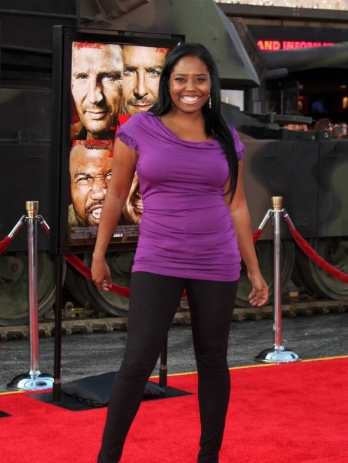 Shar Jackson Purple Top Black Pants Shar Jackson