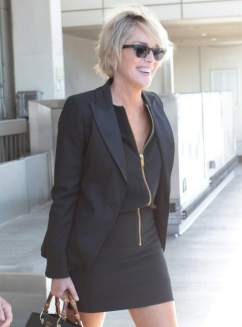 Sharon Stone Spotted In Black Suit And Spiked Heels Arrives On Lax Airport In Los Angeles