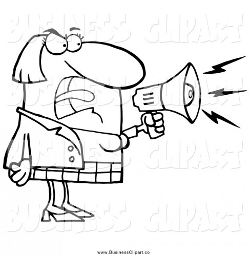 Cartoon Vector Clip Art Of Black And White Angry Businesswoman Shouting Through Megaphone By Hit Toon Shout